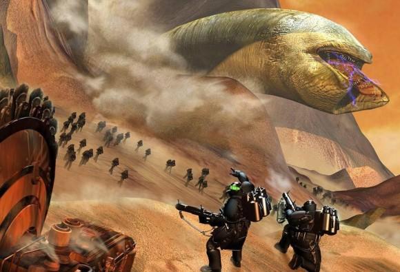 Gusano de arena irrumpiendo en una batalla dispuesto a merendarse cualquier unidad mecanizada que encuentre (preferiblemente las nuestras).