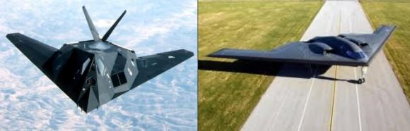 El F117 y el B2, dos maneras diferentes de hacer un avión furtivo al radar...