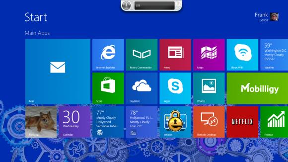 Programa abierto en la parte superior de la pantalla