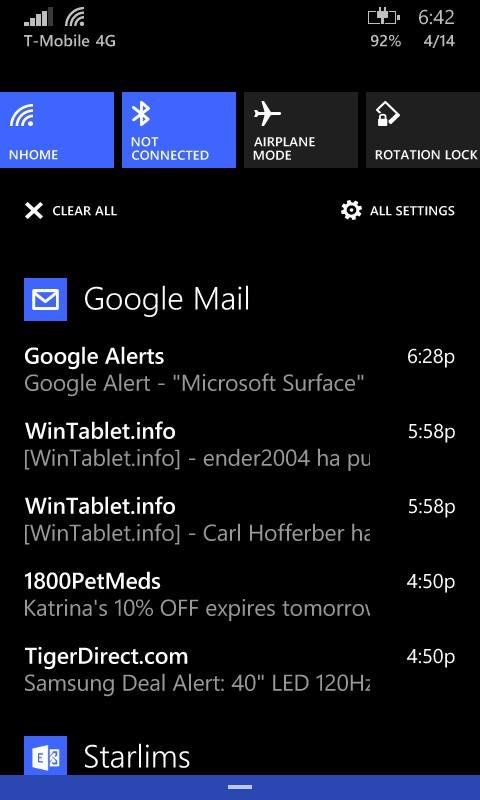 Las notificaciones, ahora todas juntas, incluyendo el nivel de batería.
