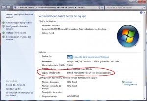 Windows 7 con entrada manuscrita disponible