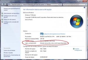 Windows 7 con entrada manuscrita disponible