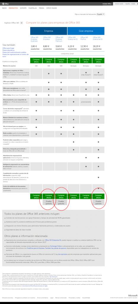 Comparar todos los planes de Office 365 para empresas2